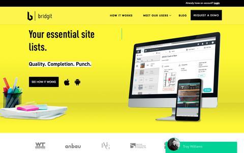 Screenshot of Home Page gobridgit.com - Home - Bridgit - captured June 28, 2017
