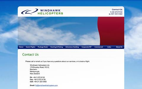 Screenshot of Contact Page windhawkhelicopters.com - Contact Us :: Windhawk Helicopters - Flight Services - Blenheim, Marlborough - captured Oct. 7, 2014