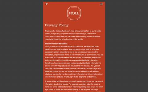 Screenshot of Privacy Page whyroll.com - Privacy Policy | Mobile Marketing and App Developer - Milwaukee, WI - captured Nov. 5, 2014