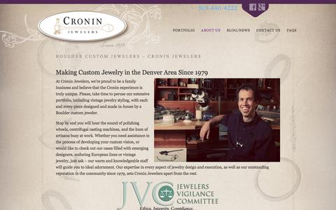 Screenshot of About Page croninjewelers.com - Boulder Custom Jewelers | Custom Jewelry Denver | Vintage Jewelry - captured March 4, 2016