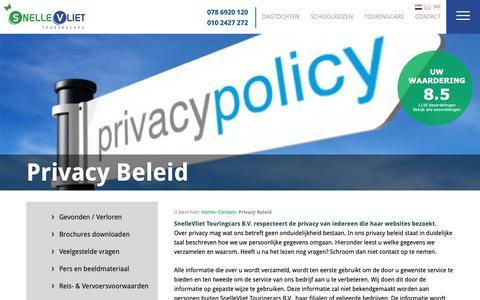 Screenshot of Privacy Page snellevliet.nl - Privacy Beleid - SnelleVliet Touringcars, Bus huren, Touringcar huren & Groepsreizen - SnelleVliet |  Huishoudbeurs | Schoolreizen | Dagtochten | Disneyland | Touringcars.nl - captured Oct. 19, 2018