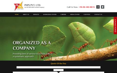 Screenshot of Home Page psps.in - PSPS - Leading Property and Facility Management Company In Pune - captured July 17, 2015