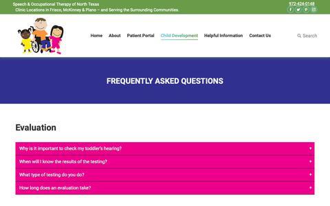 Screenshot of FAQ Page speechandot.com - Frequently Asked Questions - Speech & OT - captured Oct. 18, 2018