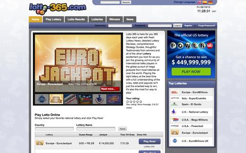 Screenshot of Home Page lotto-365.com - Lotto 365 - Play Lottery Online, Free lotto results - captured June 19, 2015