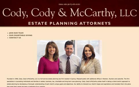 Screenshot of About Page cody-cody.com - About Us - Cody, Cody & McCarthy, LLC - captured Sept. 28, 2018