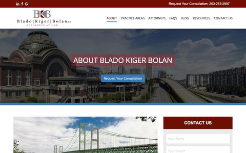Screenshot of About Page bkb-law.com - About Us and Our Law FIrm - Blado Kiger Bolan P.S. - captured Oct. 10, 2017