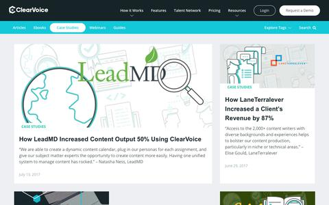 Screenshot of Case Studies Page clearvoice.com - ClearVoice Content Marketing Case Studies - captured Nov. 8, 2017