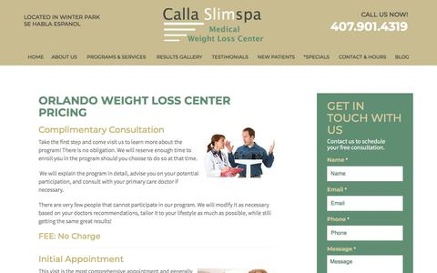Screenshot of Pricing Page callaslimspa.com - Pricing - Calla Slimspa Medical Weight Loss Center - captured Sept. 26, 2018