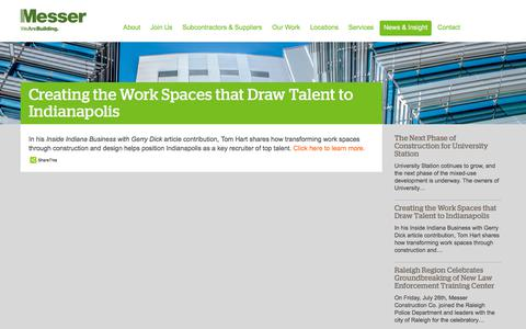Screenshot of Press Page messer.com - Creating the Work Spaces that Draw Talent to Indianapolis | Messer Construction - captured Oct. 5, 2019