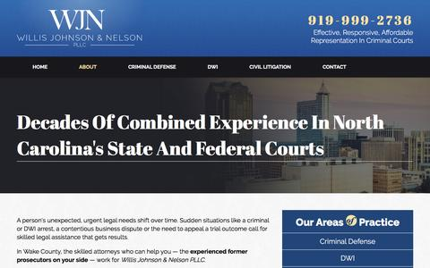 Screenshot of About Page wjnpllc.com - Willis Johnson & Nelson PLLC | Raleigh Criminal Lawyer - captured Feb. 14, 2016