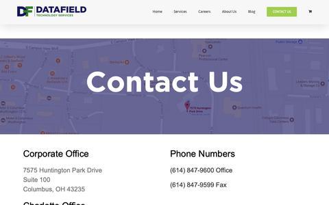 Screenshot of Contact Page datafieldusa.com - Contact Us | DataField - captured Nov. 12, 2018