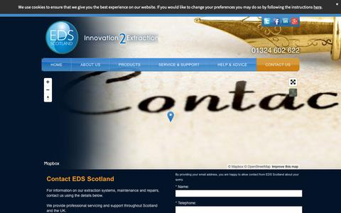 Screenshot of Contact Page edsscotland.co.uk - Call EDS Scotland For Quality Dust & Fume Extraction Systems - captured Sept. 28, 2018