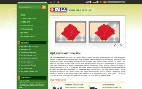 Screenshot of Home Page galathermo.in - Cable Management Products,Heat Shrink Cable End Caps,Busbar Insulation Shrouds Manufacturers - captured Oct. 1, 2014