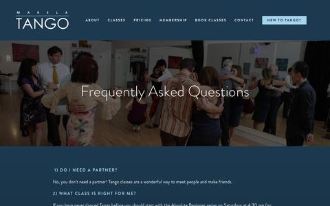 Screenshot of FAQ Page makelatango.com - Frequently Asked Questions about authentic Argentine Tango - captured Nov. 11, 2018