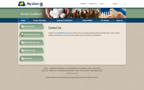 Screenshot of Contact Page hyline.com - Hyline: Contact Us,chickens,genetics,poultry,eggs,diseases,technology,breeds,farming,egg production - captured Sept. 30, 2018