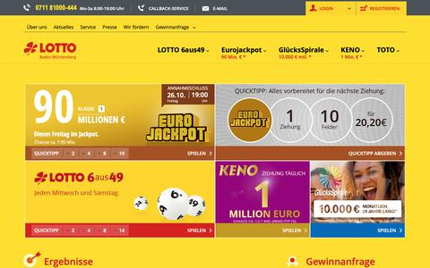 Screenshot of Home Page lotto-bw.de - LOTTO Baden-WÃŒrttemberg - Startseite - captured Oct. 21, 2018