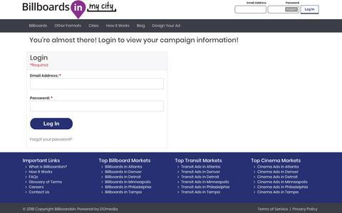 Screenshot of Login Page billboardsin.com - BillboardsIn   Search the Largest Online Marketplace for Outdoor Ads - captured Oct. 5, 2018