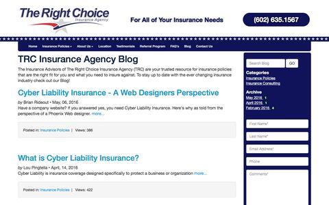 Screenshot of Blog trcinsuranceagency.com - TRC Insurance Agency Blog - captured May 22, 2017