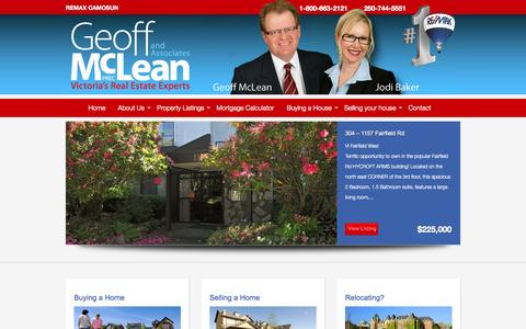 Screenshot of Home Page real-estate-victoria-bc.com - Real Estate in Victoria BC, Homes for Sale in Victoria BC – Geoff McLean - captured Jan. 25, 2015