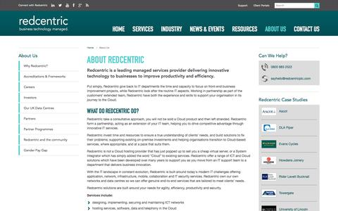 Screenshot of About Page redcentricplc.com - About Us | Managed Services Provider | Redcentric - captured July 26, 2018