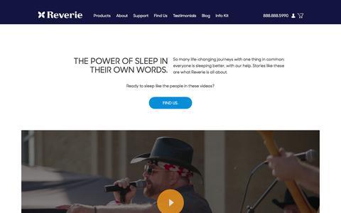 Screenshot of Testimonials Page reverie.com - Testimonials - captured Sept. 20, 2018