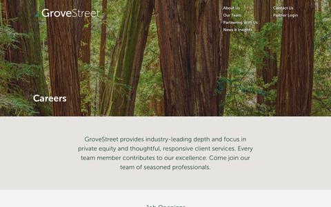 Screenshot of Jobs Page grovestreet.com - Careers - GroveStreet - captured Sept. 30, 2018