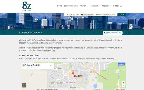 Screenshot of Locations Page 8zrentals.com - Denver and Boulder Property Manager Offices   8z Rentals - captured June 28, 2017
