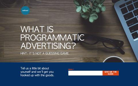 Screenshot of Landing Page adtaxi.com - What is Programmatic Advertising? - captured Feb. 10, 2017