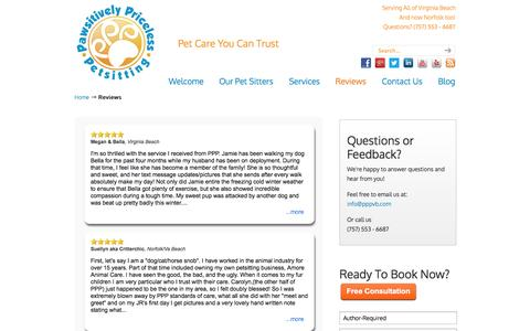 Screenshot of Testimonials Page pppvb.com - Reviews - Team PPP - Pet Sitters and Dog Walkers of Virginia Beach and Norfolk - captured Oct. 2, 2014