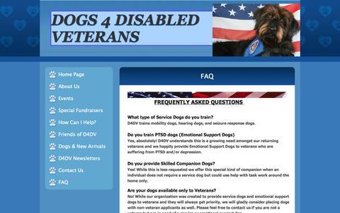Screenshot of FAQ Page dogs4disabledveterans.org - FAQ - captured Sept. 30, 2014