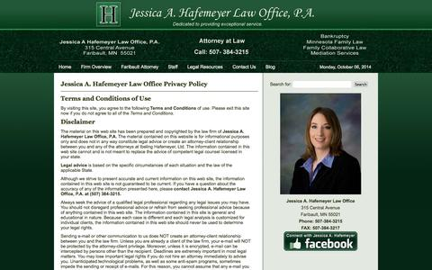 Screenshot of Privacy Page hafemeyerlaw.com - Hafemeyer Law Privacy Policy - captured Oct. 6, 2014