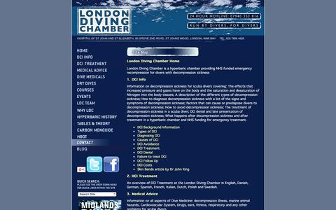 Screenshot of Site Map Page londondivingchamber.co.uk - Site Map, Contact London Recompression & Hyperbaric facilities - The London Diving Chamber - captured Feb. 1, 2016