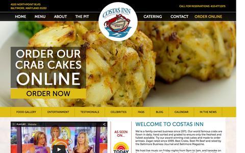 Screenshot of Home Page costasinn.com - Baltimore Seafood Restaurant & Crab House | Order Crab Cake - captured July 24, 2015
