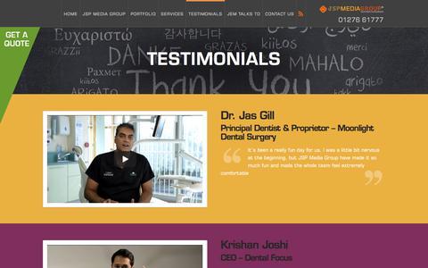 Screenshot of Testimonials Page jspmediagroup.com - Testimonials - JSP Media Group - captured July 27, 2018