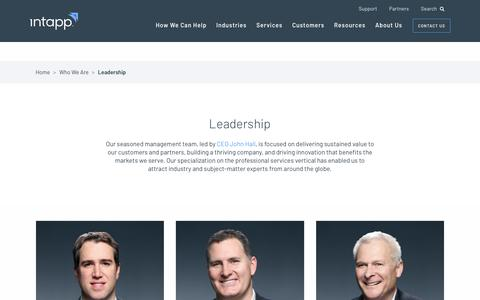 Screenshot of Team Page intapp.com - Leadership • Intapp - captured March 21, 2018