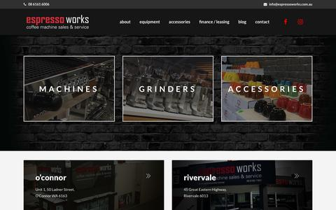 Screenshot of Home Page espressoworks.com.au - Espresso Works | Coffee Machines Perth | Espresso Machines Perth - captured July 21, 2018