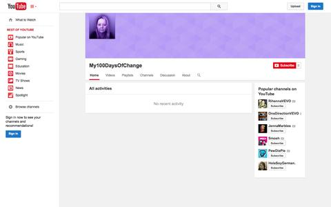 Screenshot of YouTube Page youtube.com - My100DaysOfChange  - YouTube - captured Oct. 29, 2014