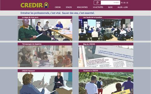Screenshot of Home Page credir.org - CREDIR centre d'entrainement des professionnels en transition - captured July 10, 2016
