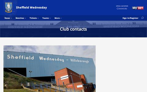 Screenshot of Contact Page swfc.co.uk - Club contacts - captured July 29, 2017