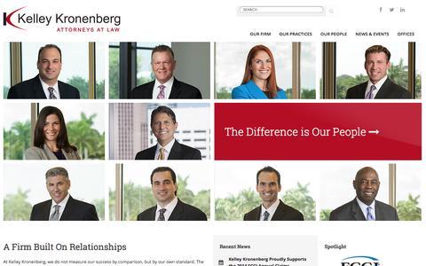 Screenshot of Home Page kelleykronenberg.com - A Firm Built On Relationships : Kelley Kronenberg - captured Sept. 18, 2014