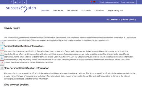 Screenshot of Privacy Page successmatch.ch - Privacy Policy - captured Aug. 5, 2018