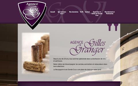 Screenshot of Home Page agence-gilles-granger.fr - Agence Gilles Granger » Distribution de vins et spiritueux - captured Sept. 30, 2014