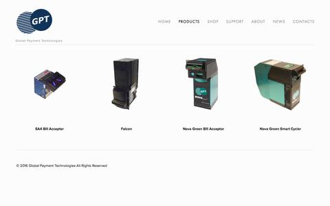 Screenshot of Products Page gpta.com.au - Products — Global Payment Technologies - captured Nov. 8, 2016
