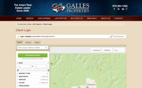 Screenshot of Login Page gallesproperties.com - Pagosa Springs mls listings - new pagosa springs property notification - captured Sept. 30, 2014