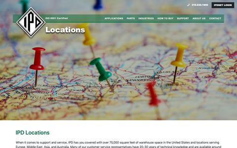 Screenshot of Locations Page ipdparts.com - Locations – IPD - captured Oct. 2, 2018