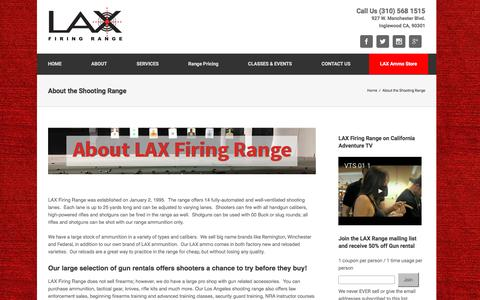 Screenshot of About Page laxrange.com - About Los Angeles Shooting Range | LAX Firing Range - captured Nov. 25, 2016