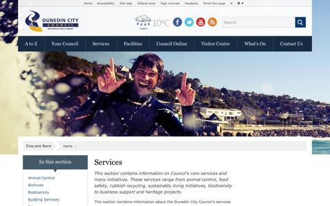 Screenshot of Services Page dunedin.govt.nz - Services - Dunedin City Council - captured Sept. 19, 2014