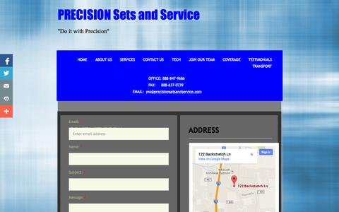 Screenshot of Contact Page precisionsetsandservice.com - Contact Us - captured Sept. 30, 2014