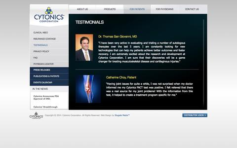 Screenshot of Testimonials Page cytonics.com - CytonicsTestimonials | Cytonics - captured Sept. 12, 2014
