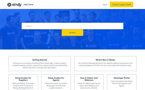 Screenshot of Support Page rezdy.com - Rezdy Help Center - captured June 3, 2019